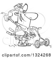 Lineart Clipart Of A Cartoon Black And White Happy Lawn Warrior Man Ready To Mow And Weed Whack Royalty Free Outline Vector Illustration