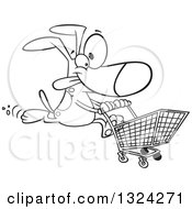 Lineart Clipart Of A Cartoon Black And White Dog Running With A Shopping Cart Royalty Free Outline Vector Illustration