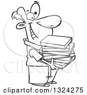 Lineart Clipart Of A Cartoon Black And White Happy Man Holding A Stack Of Books Royalty Free Outline Vector Illustration