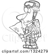 Lineart Clipart Of A Cartoon Black And White Army Soldier Reading A Map With X You Are Here Royalty Free Outline Vector Illustration by toonaday