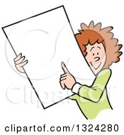 Clipart Of A Cartoon Happy Caucasian Business Woman Holding And Pointing To A Blank Sign Or Document Royalty Free Vector Illustration
