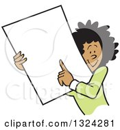 Cartoon Happy Black Business Woman Holding And Pointing To A Blank Sign Or Document