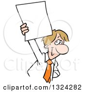 Clipart Of A Cartoon Happy Dirty Blond Caucasian Business Man Holding Up A Blank Document Royalty Free Vector Illustration by Johnny Sajem