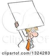 Clipart Of A Cartoon Happy Dirty Blond Caucasian Business Man Holding Up A Blank Sign Or Document Royalty Free Vector Illustration
