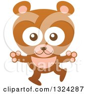 Clipart Of A Cartoon Brown Baby Bear Cub Royalty Free Vector Illustration