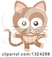 Clipart Of A Cartoon Brown Baby Cat Royalty Free Vector Illustration by Zooco