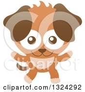Clipart Of A Cartoon Happy Brown Puppy Dog Royalty Free Vector Illustration
