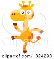 Cartoon Baby Giraffe Walking Upright