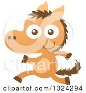 Clipart Of A Cartoon Baby Horse Running Upright Royalty Free Vector Illustration