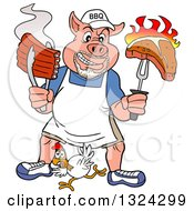 Cartoon Bbq Chef Pig With A Goatee Holding Up A Steak And Hot Ribs Over A Chicken