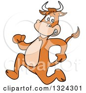 Cartoon Scared Cow Running Upright