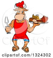 Cartoon Chef Bull Holding A Bbq Platter Of Meats