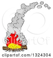 Clipart Of A Cartoon Smoking Camp Fire Royalty Free Vector Illustration by LaffToon