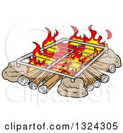 Clipart Of A Cartoon Grill Over A Camp Fire Royalty Free Vector Illustration