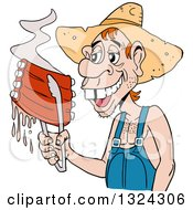 Clipart Of A Buch Toothed Male Hillbilly Holding Juicy Bbq Ribs With Tongs Royalty Free Vector Illustration