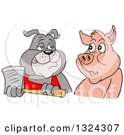 Clipart Of A Cartoon Chef Bulldog Holding An Axe And Eying A Pig Royalty Free Vector Illustration