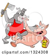 Clipart Of A Cartoon Chef Pig Holding A Bottle Of Bbq Sauce And Fighting With Bulldog A Bulldog Wielding An Axe Royalty Free Vector Illustration