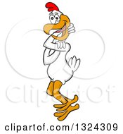 Clipart Of A Cartoon White Twisted Chicken Royalty Free Vector Illustration