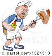 Clipart Of A Cartoon White Man Holding A Bottle Of Bbq Sauce And A Steak Royalty Free Vector Illustration by LaffToon