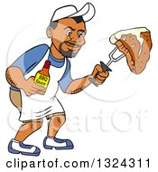 Clipart Of A Cartoon Black Man Holding A Bottle Of Bbq Sauce And A Steak Royalty Free Vector Illustration by LaffToon