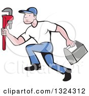 Cartoon White Male Plumber Sprinting With A Tool Box And Monkey Wrench