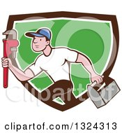 Clipart Of A Cartoon White Male Plumber Sprinting With A Tool Box And Monkey Wrench In A Brown White And Green Shield Royalty Free Vector Illustration