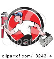 Clipart Of A Cartoon White Male Plumber Sprinting With A Tool Box And Monkey Wrench In A Black White And Red Circle Royalty Free Vector Illustration