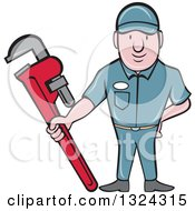 Clipart Of A Cartoon White Male Plumber Holding A Red Monkey Wrench Royalty Free Vector Illustration