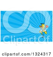 Clipart Of A Cartoon Yellow Duck Plumber Worker Holding A Plunger And Blue Rays Background Or Business Card Design Royalty Free Illustration by patrimonio