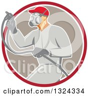 Clipart Of A Retro Male Painter Using A Spray Gun And Emerging From A Red White And Taupe Circle Royalty Free Vector Illustration