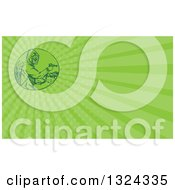 Clipart Of A Sketched Or Engraved Herbicide Sprayer And Green Rays Background Or Business Card Design 2 Royalty Free Illustration by patrimonio