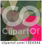 Clipart Of A Low Poly Abstract Geometric Background Of Cerise Red Green Royalty Free Vector Illustration