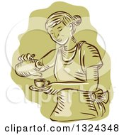 Clipart Of A Retro Engraved Or Sketched Waitress Pouring Tea Into A Cup Over Green Royalty Free Vector Illustration