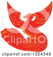 Clipart Of A Retro Engraved Or Sketched Phoenix Bird Rising Royalty Free Vector Illustration
