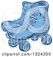 Clipart Of A Retro Blue Engraved Or Sketched Pair Of Roller Skates Royalty Free Vector Illustration