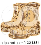 Retro Engraved Or Sketched Pair Of Boots