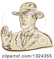 Clipart Of A Retro Engraved Or Sketched Businessman Waving Royalty Free Vector Illustration