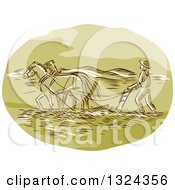 Clipart Of A Retro Engraved Or Sketched Farmer And Horse Powing A Field Royalty Free Vector Illustration