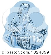 Clipart Of A Retro Engraved Or Sketched Maid Carrying A Basket Of Laundry Over Blue Royalty Free Vector Illustration