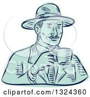Clipart Of A Retro Engraved Or Sketched Man In A Fedora Hat Drinking Coffee Royalty Free Vector Illustration by patrimonio