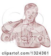 Clipart Of A Retro Engraved Or Sketched Man Pouring Beer Into A Mug Royalty Free Vector Illustration