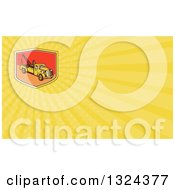 Clipart Of A Retro Tow Truck And Yellow Rays Background Or Business Card Design Royalty Free Illustration by patrimonio
