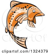Clipart Of A Retro Orange Leaping Rainbow Trout Fish Royalty Free Vector Illustration by patrimonio
