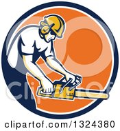 Clipart Of A Retro White Male Arborist Using A Chainsaw In A Blue White And Orange Circle Royalty Free Vector Illustration