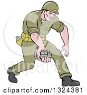Clipart Of A Cartoon White Male Ww2 American Soldier Holding A Grenade Royalty Free Vector Illustration