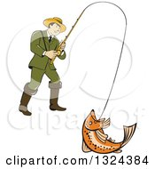 Clipart Of A Retro Cartoon Male Fisherman Reeling In A Rainbow Trout Royalty Free Vector Illustration