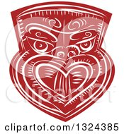 Clipart Of A Retro Maori Mask In Red And White Royalty Free Vector Illustration by patrimonio