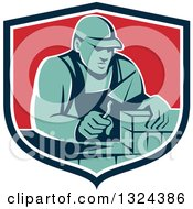 Clipart Of A Retro Male Mason Worker Laying A Brick Wall In A Blue White And Red Shield Royalty Free Vector Illustration