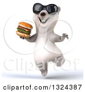 Clipart Of A 3d Happy Polar Bear Wearing Sunglasses Jumping And Holding A Double Cheeseburger Royalty Free Illustration