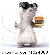 Clipart Of A 3d Happy Polar Bear Wearing Sunglasses Giving A Thumb Up And Holding A Double Cheeseburger Royalty Free Illustration